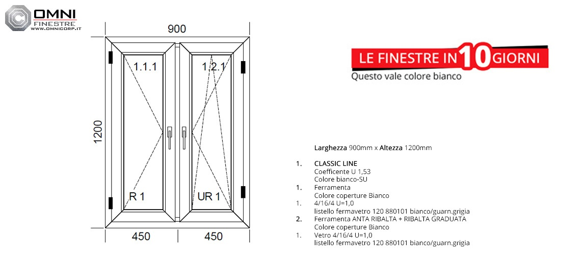 Finestra finestre in pvc bianco a 2 ante l 900x1200 - Altezza parapetto finestra ...
